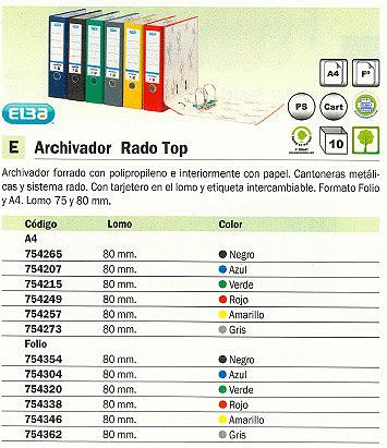 ENVASE DE 10 UNIDADES ELBA ARCHIVADOR PALANCA RADO TOP A4 LOMO 80 MM AZUL 100202148
