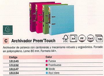 EXACOMPTA ARCHIVADOR PALANCA PREM´TOUCH A4+ LOMO 80 MM AZUL CLARO 53302E