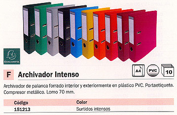 ENVASE DE 10 UNIDADES EXACOMPTA ARCHIVADOR PALANCA 10UD A4 320X290X70MM COLORES SURTIDOS 53074E