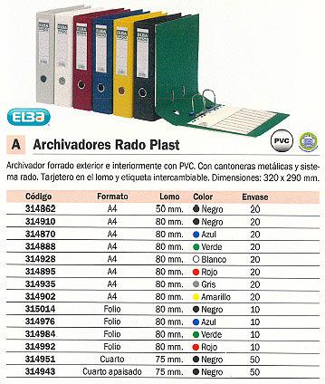 ENVASE DE 20 UNIDADES ELBA ARCHIVADOR PALANCA RADO PLAST A4 LOMO 80MM ROJO 100022630