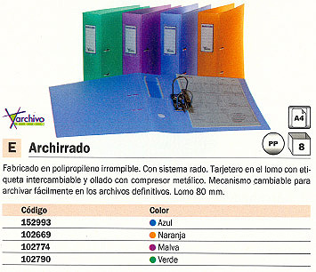 ENVASE DE 8 UNIDADES ARCHIVO 2000 ARCHIVADOR PALANCA ARCHIRRADO A4 LOMO 80MM AZUL 210T