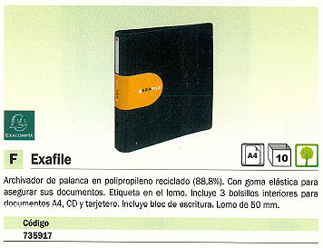 ENVASE DE 10 UNIDADES EXACOMPTA CARPETA ANILLAS A4 50 MM NEGRO POLIPROPILENO 53534E