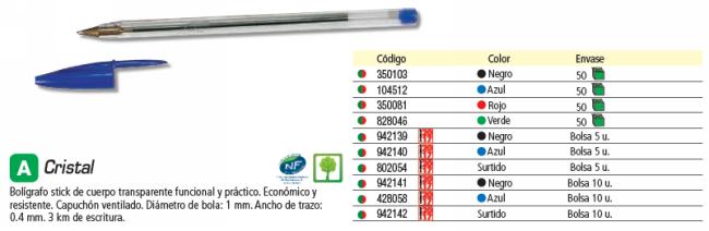 BIC BOLÍGRAFO CRISTAL 5 UD 3 AZULES,NEGRO,ROJO Y VERDE 802054