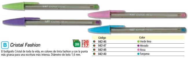 ENVASE DE 20 UNIDADES BIC BOLÍGRAFO CRISTAL FUN VERDE LIMA. TRAZO 0,6 MM. 927885