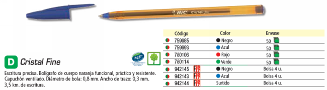 BIC BOLSA 4 BOLÍGRAFOS CRISTAL FINE NEGROS. TRAZO 0,3 MM. 872726