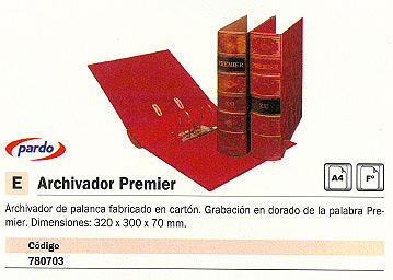 PARDO ARCHIVADOR PALANCA PREMIER A4 FOLIO 320X300X70 MM CUERO 235