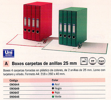 Box UNISYSTEM BOX CARPETAS A4 2-25MM NEGRO 4 UD 090649