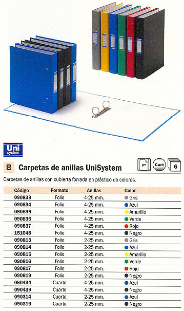 UNISYSTEM CARPETA ANILLAS FOLIO 2-25 MM ROJO 090817