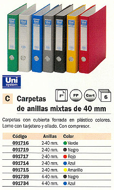 UNISYSTEM CARPETA ANILLAS FOLIO 2-40 MM AMARILLO 091715