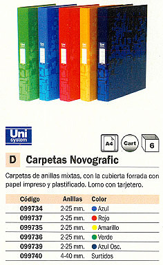 Comprar Carpetas anillas color 099736 de Unisystem online.