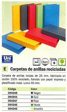 Comprar Carpetas anillas color 094345(1/6) de Unipapel online.