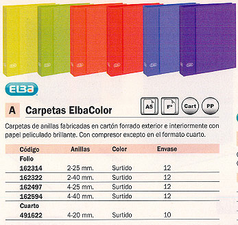 ELBA CARPETA ANILLAS FOLIO 4-40 MM COLORES SURTIDOS 100580218