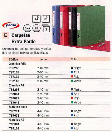 PARDO CARPETA ANILLAS EXTRA A4 2-40 MM ROJO PVC 2474R