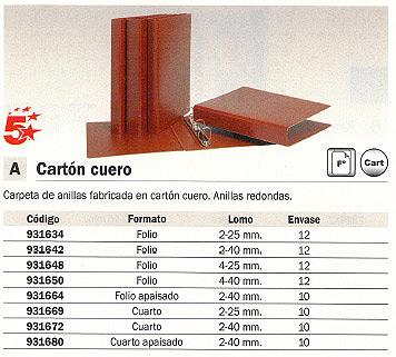 CARPETA ANILLAS CARTÓN CUERO FOLIO 2-40 MM.CARTÓN Nº12 931642