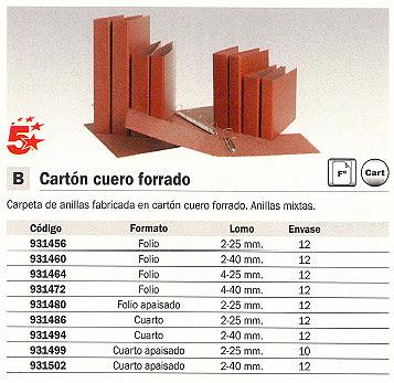 ENVASE DE 12 UNIDADES 5 ESTRELLAS CARPETA ANILLAS FOLIO 4-40 MM CARTON CUERO 931472