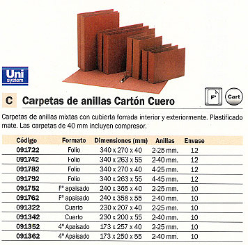 ENVASE DE 12 UNIDADES UNISYSTEM CARPETA ANILLAS FOLIO 2-25 MM CARTÓN CUERO 340X270X40 091722