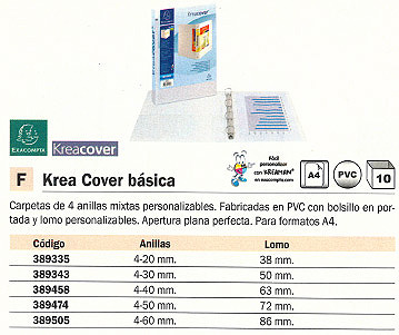EXACOMPTA CARPETA ANILLAS KREA COVER BÁSICA A4 4-50 MM 80312