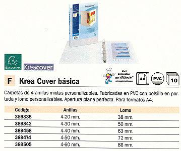 ENVASE DE 10 UNIDADES EXACOMPTA CARPETA ANILLAS KREA COVER BÁSICA A4 4-20 MM PERSONALIZABLE 51941E