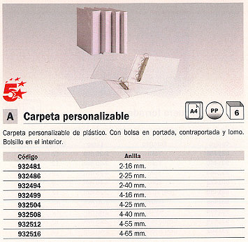 5 STAR CARPETA ANILLAS A4 2-40 MM BLANCO PERSONALIZABLE 2D40