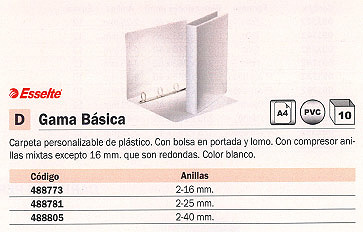 ESSELTE CARPETA ANILLAS GAMA BÁSICA A4 2-16 MM BLANCO PERSONALIZABLE 49720