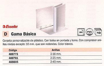 ESSELTE CARPETA ANILLAS GAMA BÁSICA A4 2-25 MM BLANCO PERSONALIZABLE 49722