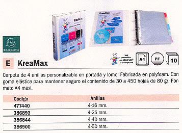EXACOMPTA CARPETA ANILLAS KREAMAX A4+ 4-25MM PERSONALIZABLE 51762E