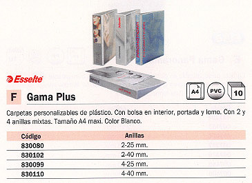 ESSELTE CARPETA ANILLAS A4+ 4-25 MM BLANCO BL1440