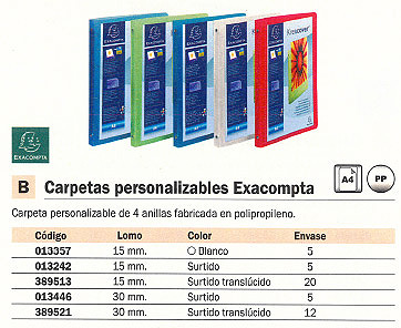 EXACOMPTA CARPETA ANILLAS A4 4-15 MM BLANCO PERSONALIZABLE 51189E