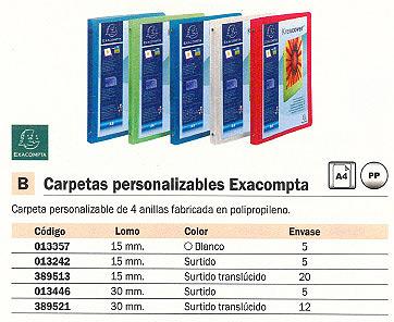 EXACOMPTA CARPETA ANILLAS A4 4-30 MM COLORES SURTIDOS PERSONALIZABLE 51869E