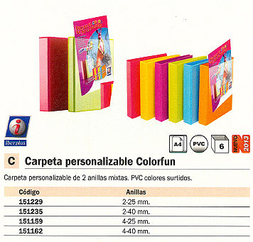 IBERPLAS CARPETA ANILLAS COLORFUN A4 2-40 MM COLORES SURTIDOS 320X270X50 MM 8440FCM2