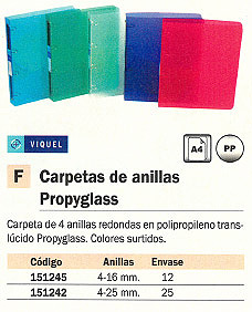 ENVASE DE 25 UNIDADES VIQUEL CARPETA ANILLAS CARPETAS DE ANILLAS PROPYGLASS A4 4-25 MM COLORES SURTIDOS 21808308
