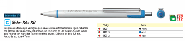 ENVASE DE 10 UNIDADES SCHNEIDER BOLÍGRAFO SLIDER XITE XB AZUL 133203