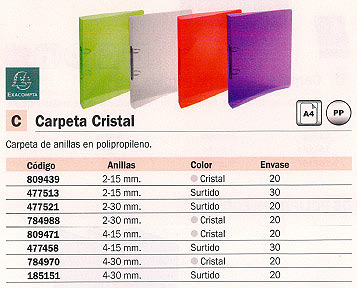 ENVASE DE 20 UNIDADES EXACOMPTA CARPETA ANILLAS CRISTAL A4 4-30 MM COLORES SURTIDOS 51298E