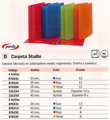 PARDO CARPETA ANILLAS STUDIO COMPACTA A4 4-25MM ROJO POLIPROPILENO 852502