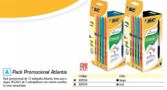 BIC PACK 12 ATLANTIS NEGRO + 5 FLUORESCENTE S GRIP 933976