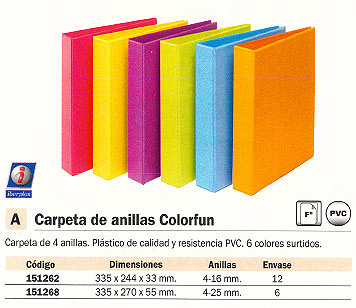 ENVASE DE 6 UNIDADES IBERPLAS CARPETA ANILLAS COLORFUN FOLIO 4-40 MM COLORES SURTIDOS PERSONALIZABLE 8327FCM4