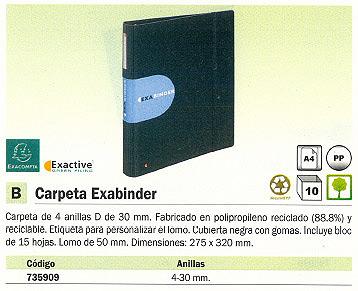 ENVASE DE 10 UNIDADES EXACOMPTA CARPETA ANILLAS EXABINDER A4 4-30 MM NEGRA 51234E