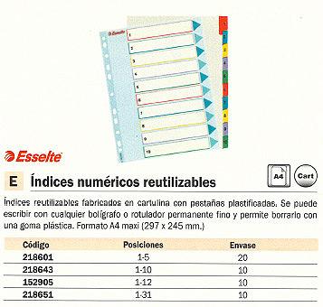 ENVASE DE 10 UNIDADES ESSELTE SEPARADORES NUMERICOS 10 POSICIONES A4 CARTULINA 100208