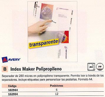 AVERY SEPARADORES 6 POSICIONES A4 5112081