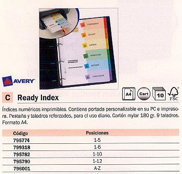 ENVASE DE 10 UNIDADES AVERY SEPARADORES 12 POSICIONES A4 MULTITALADRO 01736501