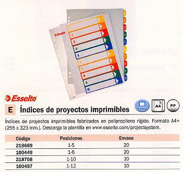 ESSELTE SEPARADORES 5 POSICIONES A4 INDICE IMPRIMIBLE 100211