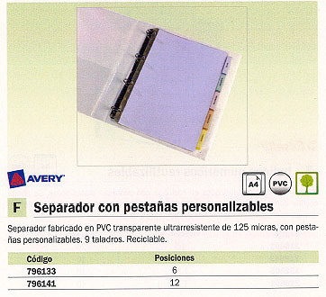 AVERY SEPARADORES 12 POSICIONES A4 TRANSPARENTE 05614 501