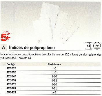 5 STAR SEPARADORES 31 POSICIONES A4 BLANCO POLIPROPILENO 423687
