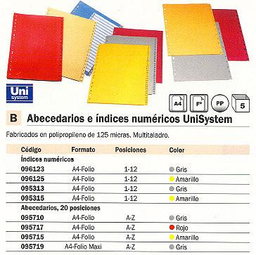 ENVASE DE 5 UNIDADES DEFINICLAS SEPARADORES NUMERICOS 12 POSICIONES A4 FOLIO GRIS REF.96123
