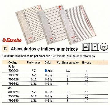 ENVASE DE 10 UNIDADES ESSELTE SEPARADORES ALFABETICOS A-Z A4 MULTITALADRO GRIS 100112