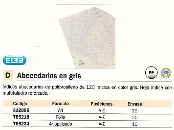 ELBA SEPARADORES ALFABETICOS MULTITALADRO GRIS 100580246