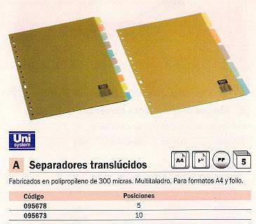 Separadores UNISYSTEM SEPARADORES 10 POSICIONES FOLIO MULTITALADRO TRANSPARENTE 95673