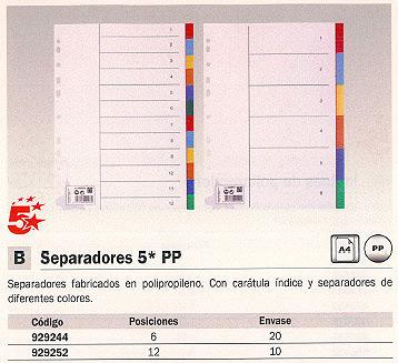 5 STAR SEPARADORES 12 POSICIONES COLORES SURTIDOS POLIPROPILENO 929252