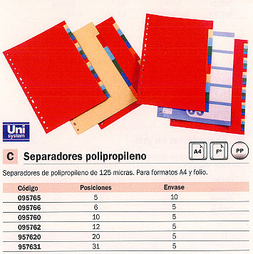 ENVASE DE 5 UNIDADES DEFINICLAS SEPARADORES 20 POSICIONES FOLIO/ A4 COLORES SURTIDOS POLIPROPILENO 957620