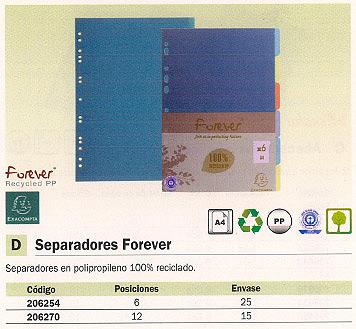 ENVASE DE 15 UNIDADES EXACOMPTA SEPARADORES FOREVER 12 POSICIONES A4 2712E